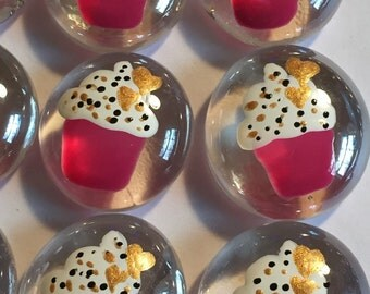 Cupcakes cupcake  birthday party favors decorations  hand painted glass gems