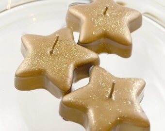 12 Gold Shimmering Star floating candles Perfect size for mason jars