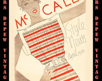 Vintage Sewing Pattern Catalog McCall Style News Booklet Set Spring 1936 PDF - INSTANT DOWNLOAD-