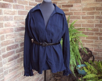 Renaissance shirt, Poets Shirt, Pirate shirt, Colonial Huntsman, Navy blue cotton gauze