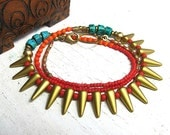 Tribal Boho Golden Spike Beaded Necklace • Colorful, Vibrant • Gold, Red, Orange, Teal Blue • Layering, Bohemian, Gypsy, Rustic • Aniyah