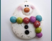 SALE Snowball in a Scarf Polymer Clay Charm