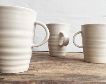 Wheelthrown Pottery Coffee Mug in White