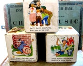 Adorable Vintage Set of Three Large Cardboard Childrens Poetry Cubes by Golden Press