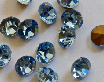 Vintage Czech Sapphire Round Faceted Crystal Chatons 28ss (6)