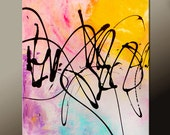 Abstract Art  Painting 18x24 Canvas Contemporary Art Paintings by Destiny Womack - dWo - Random Thoughts IV