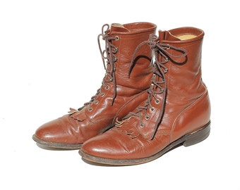 Men's Justin Warm Wassail Brown Leather Ankle Boots / size 9