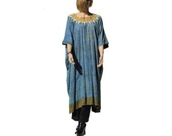 Vintage Unique EMBROIDERED Blue Cotton Caftan Dress