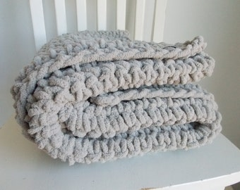 Baby blanket ~ plush super-soft chunky ~ Stormy Gray