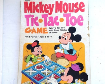Vintage Mickey Mouse Disney game tic tac toe kids game