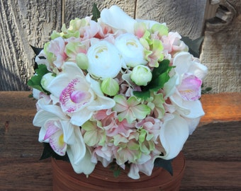 Wedding Bouquet in pink and white with real touch hydrangea orchids and calla lilies also silk ranunculus Bridal Bouquet beautiful flowers