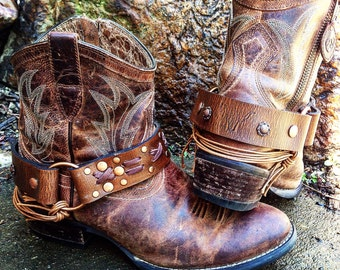 OLD WEST Veg Tanned Leather Boot Straps, Country Western, Handmade Boot Harnesses // Ready to Ship