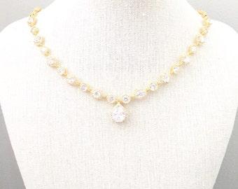 Teardrop Rhinestone Wedding Necklace, CZ Cubic Zirconia Bridal Necklace, Wedding Jewelry, Gold Bridal Jewelry