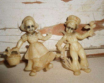 Vintage Dutch Boy and Girl Figurines, Vintage Plastic Dutch Figurine