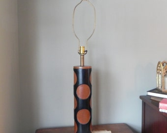 Vintage mid century modern black teak wood lamp tall large leather - vinyl statement table lamp solid wood mid century style swanky Danish