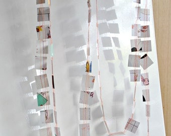 SALE Pastel Paper Stitched Garland Baby Announcement Birthday Housewarming Desk Autumn Decor Gift under 30