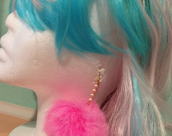 Fluffy Pom Pom Pastel Earrings, 3 colors