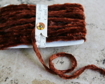 Vintage Copper Chenille Trim - Tiny Velvet String 10 Feet Fall Garland - Fall Gift Wrapping Ribbon Trim - DIY Halloween Craft Supply