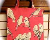 Hot Pink Parakeets / Budgies /  TIGHT 'N' TIDY Tote Reusable Shopping Bag