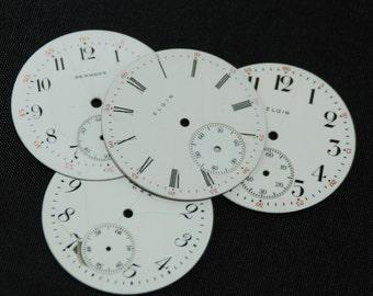 Vintage Antique Watch Dials Steampunk Faces Parts Enamel Porcelain Metal WC 56