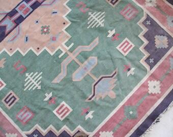 Large Boho Vintage Kilim Style Cotton Rug - 9 Feet x 6 Feet