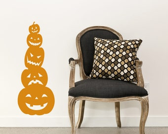 Stacked Jack O Lanterns - Pumpkins - Halloween Holiday - Wall Decals