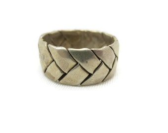 Sterling Braid Ring - Vintage Woven Sterling Silver Band, Stack Ring