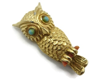 Costume Jewelry Owl Brooch - Vintage, Gold Owl, Faux Coral Turquoise