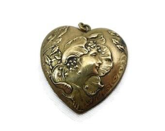 Art Nouveau Heart Pendant - Brass, Mucha Style Woman, Flowers