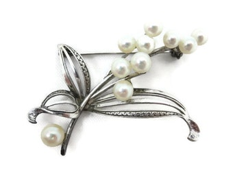 Pearl Brooch - Branch Genuine Akoya Cultured Pearl Jewelry Sterling Silver 1950s Mikimoto Style