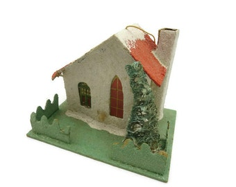 Putz House Christmas Decoration - Japan, Mica Glitter, Miniature, Mid Century House, Vintage Christmas