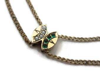 Antique Victorian Slide Necklace - Gold Watch Chain with Emerald Glass and Faux Pearl Slide Charm