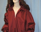 Extra Large Burgundy cotton sateen Pirate shirt