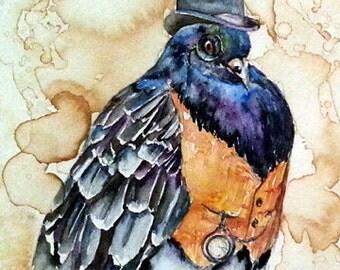 Mr Pigeon- Coffee and Watercolor Victorian Steam Punk Fine art print, derby, top hat, fancy, bird, vest, pocket watch, monical