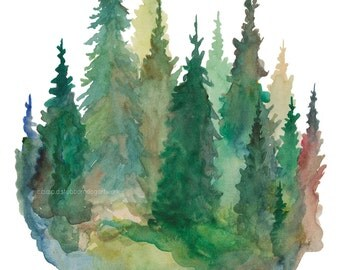 Sand Pines - Watercolor Art Print - pine trees, forest, treeline, nature, north woods
