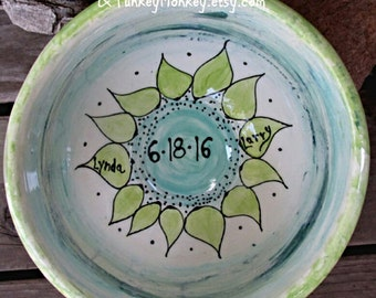 Custom wedding bowl xlarge popcorn bowl mixing bowl wedding gift personalized mixing bowl with names kiln fired pottery 9th anniversary mom