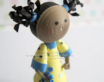 Paper Quilled Miniature Doll, yellow and blue polka dot dress, African American, READY TO SHIP