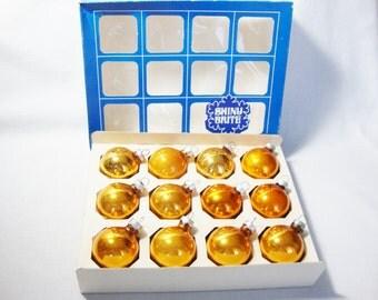 vintage shiny brite christmas ornaments small copper balls 1 dozen in box