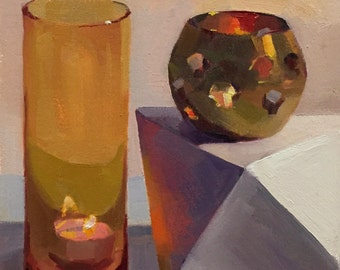 "Art painting ""Orange Light"" original oil by Sarah Sedwick"