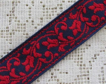 Hungary Traditional Floral Jacquard Trim Ribbon 15/16th Inch Wide 2 Yards Folk Costume Trim Navy Blue Red  HFT 65