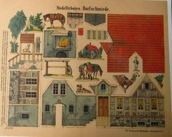 Germany Reprint Circa 1859 Victorian Blacksmith Shop Jumbo Sheet