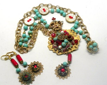 Baroque VERSAILLES Crown Long Assemblage Pendant Statement NECKLACE & EARRINGS Antique Victorian Buttons Red Crystal Turquoise Glass Beads