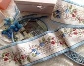 Limited Supply - French Country Floral Vines  - Hand Stamped  Ribbon Trim