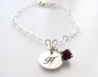"Custom Sterling Silver Initial Charm, Swarovski Birthstone Crystal Bracelet 7 1/2"" Initial Birthstone Birthday Jewelry Gift"
