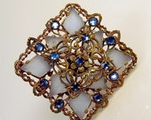 Vintage Blue Rhinestone Brooch Filigree Brass Frosted Czech Glass