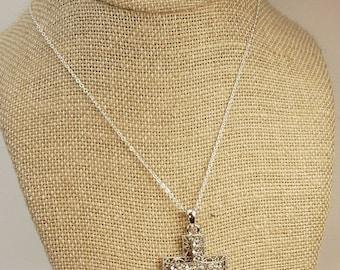 Vintage Silver Rhinestone Cross Pendant Necklace