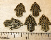 5 Antiqued Bronze Brass Hamsa Ward off Evil Protection Jewish Muslim Middle East Charm
