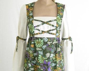 Vintage 70's Boho Romantic Maxi Dress. Size Small