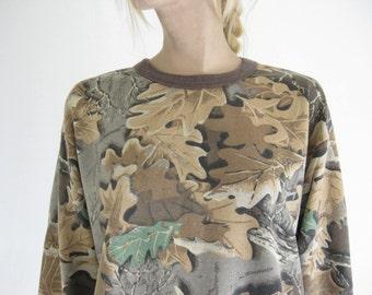 Vintage  80's Camo Print Sweatshirt.