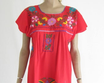 Vintage Mexican Embroidered Dress.